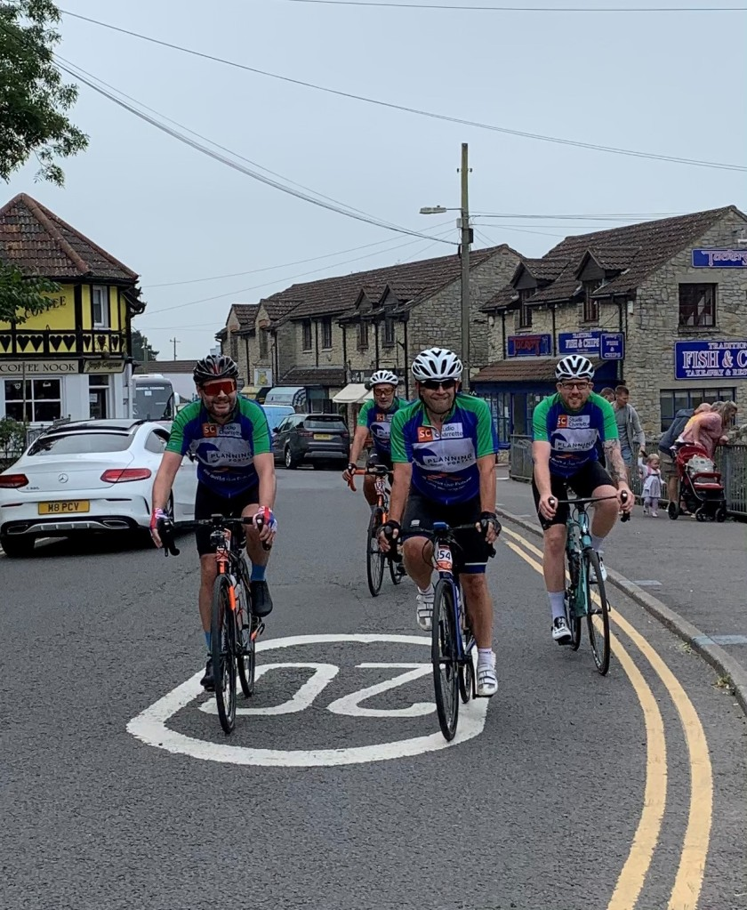 The cyclists setting off